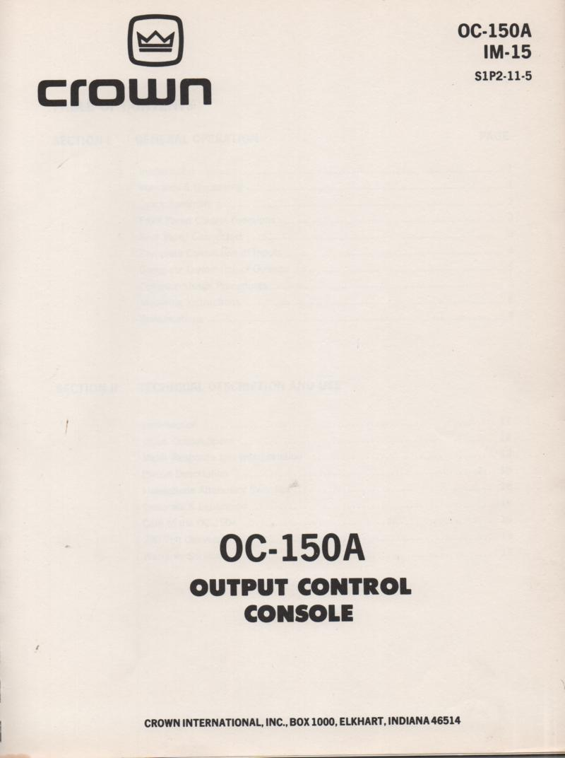 OC-150A Output Control Console Owners Service Manual