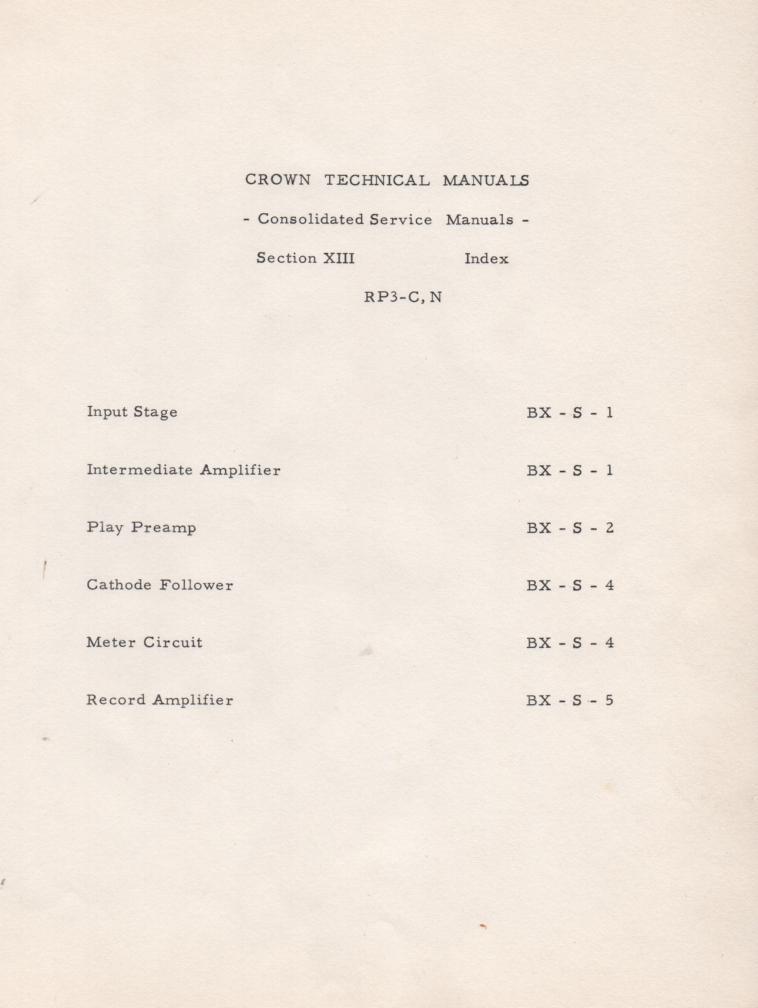 RP-3C RP-3N Amplifier Owners Service Manual