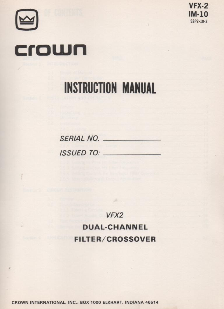 VFX-2 Dual Channel Crossover Filter Owners Service Manual..  IM-10