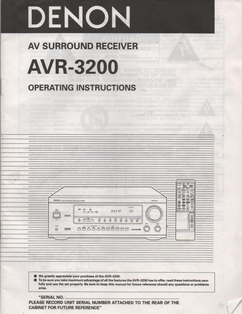 AVR-3200 Surround Sound Amplifier Owners Manual
