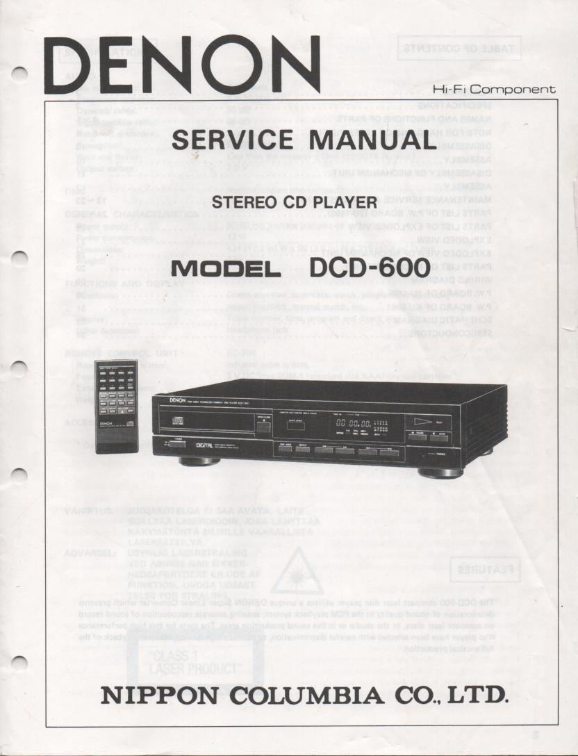 DCD-600 CD Player Service Manual