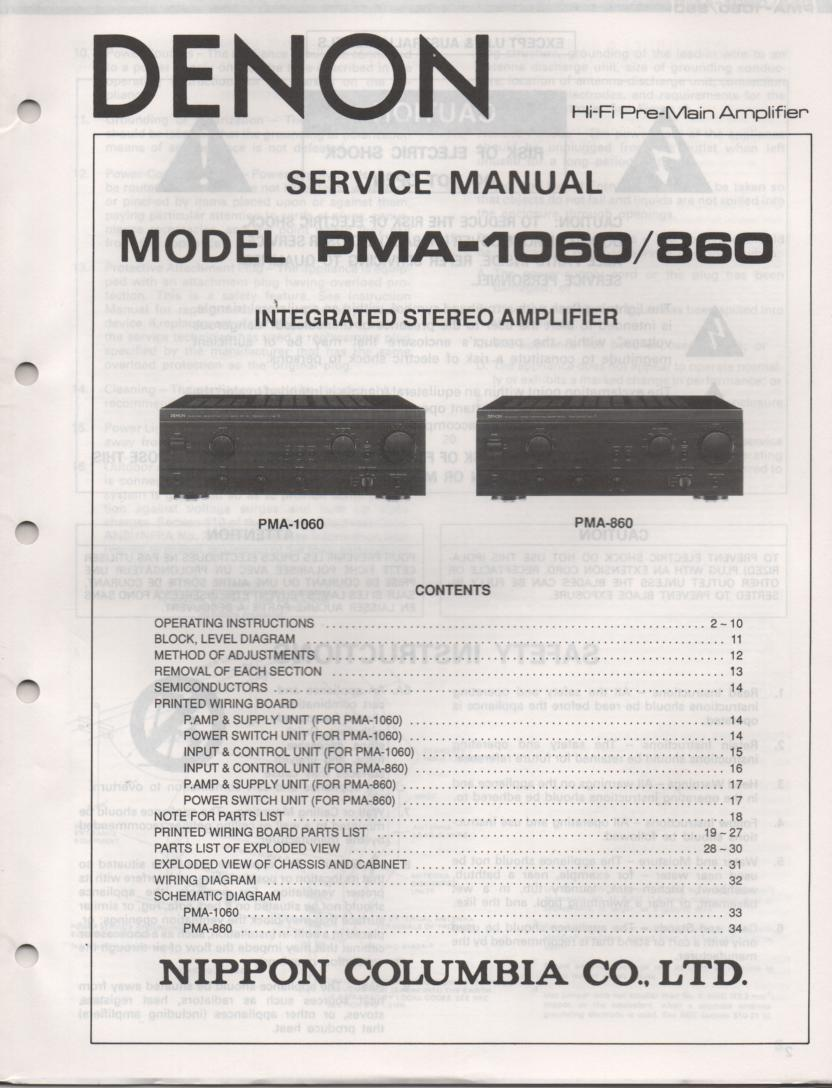 PMA-860 PMA-1060 Amplifier Service Manual