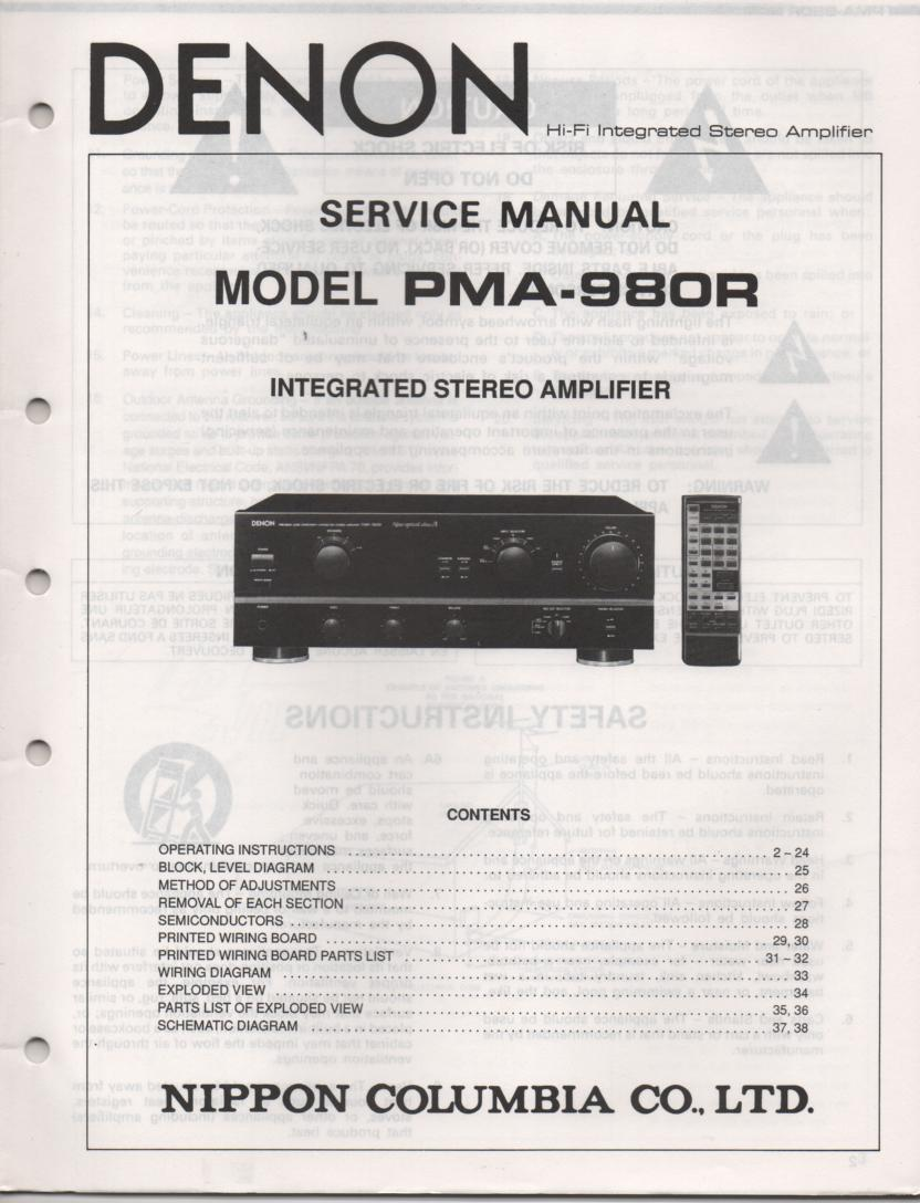PMA-980R Amplifier Service Manual