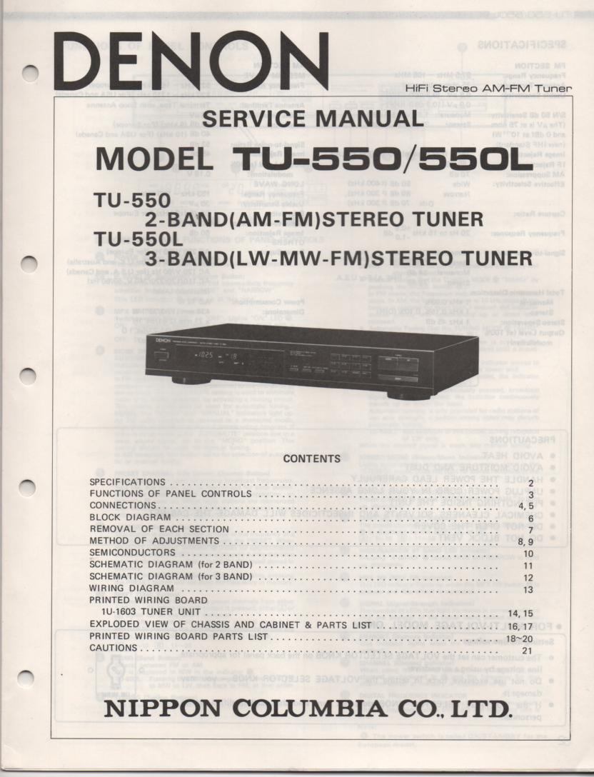 TU-550 TU-550L Tuner Service Manual