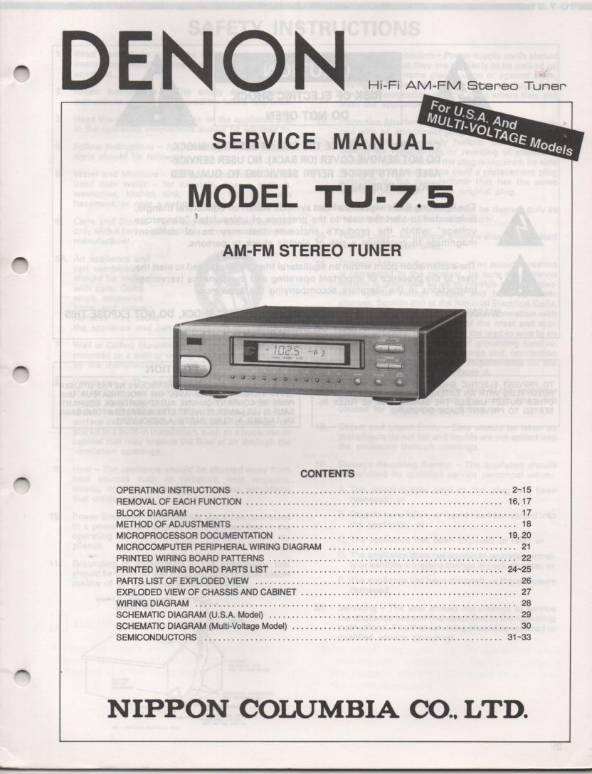TU 7.5 Tuner Service Manual