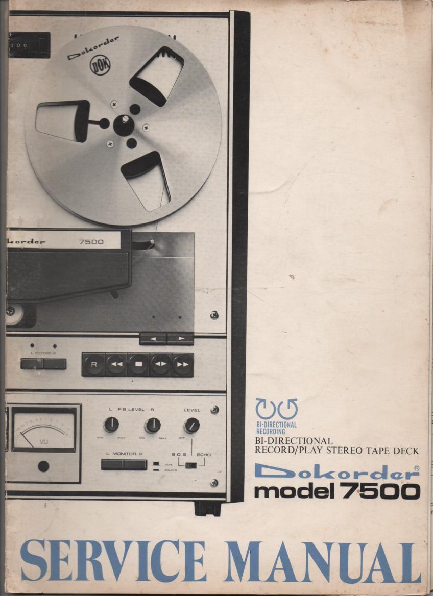 7500 Bi-Directional Reel to Reel Service Manual