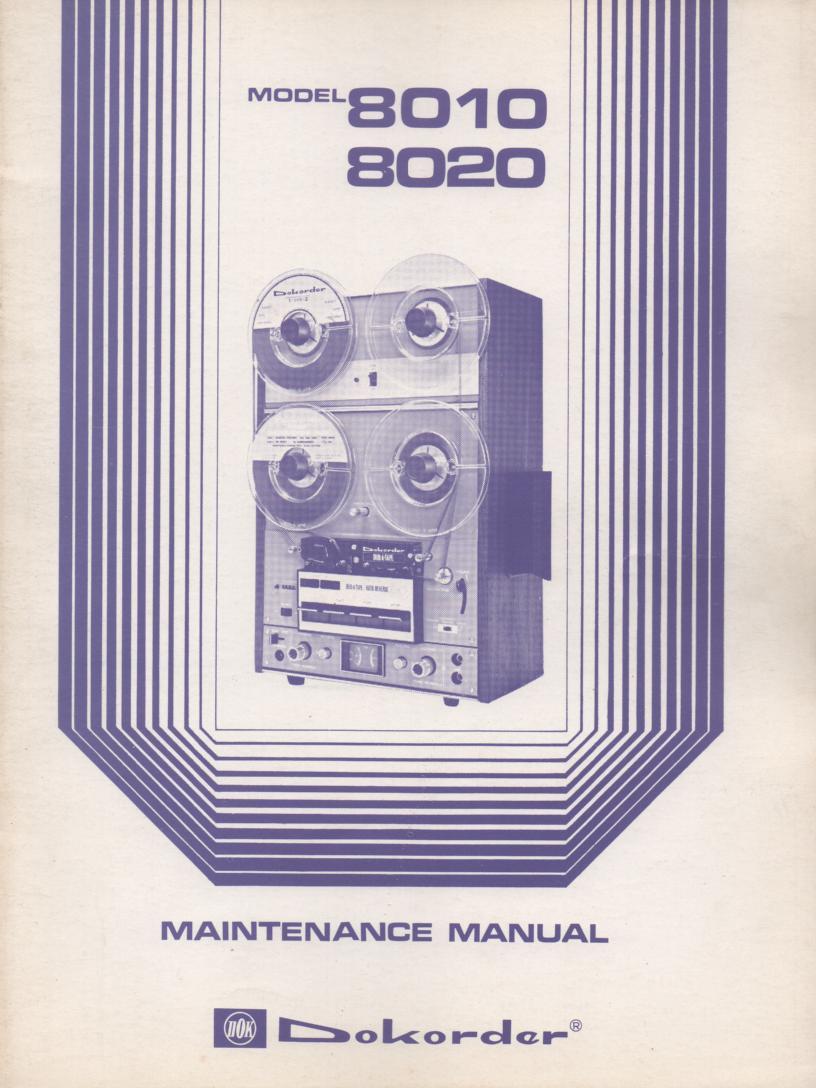 8010 8020 Reel to Reel Service Manual