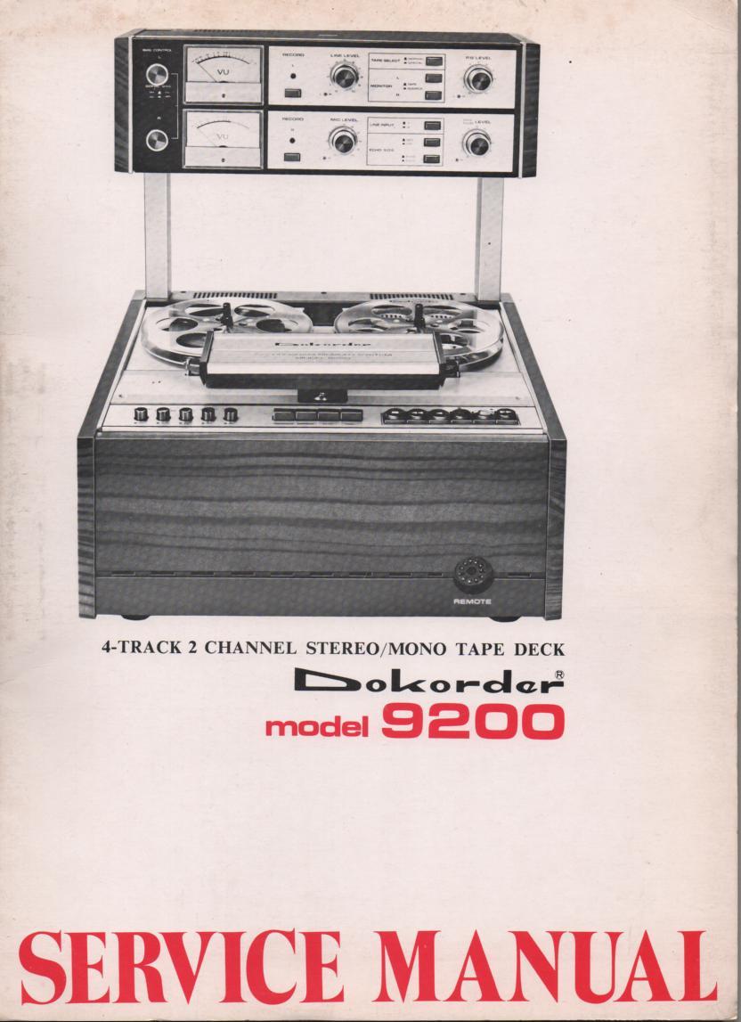 9200 Reel to Reel Service Manual