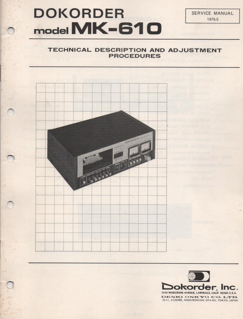 MK-610 Cassette Deck Service Manual