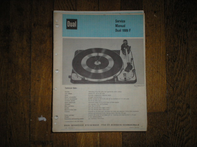 1009F 1009 F Turntable Service Manual