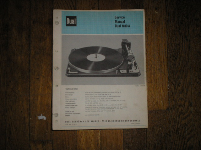 1010A 1010 A Turntable Service Manual