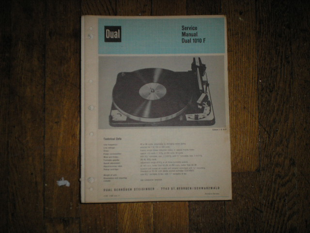 1010F 1010 F Turntable Service Manual