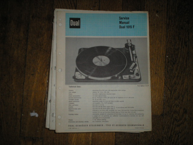 1015F 1015 F Turntable Service Manual