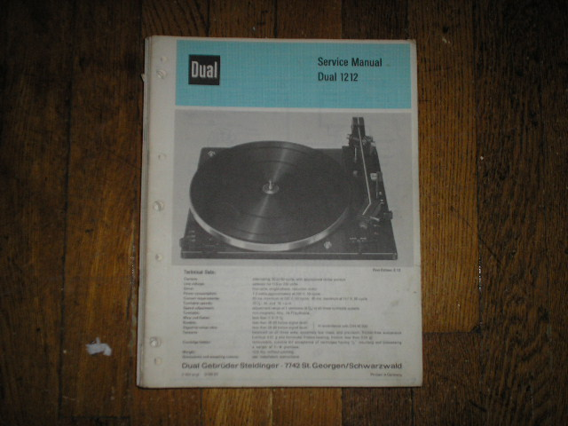 1212 Turntable Service Manual