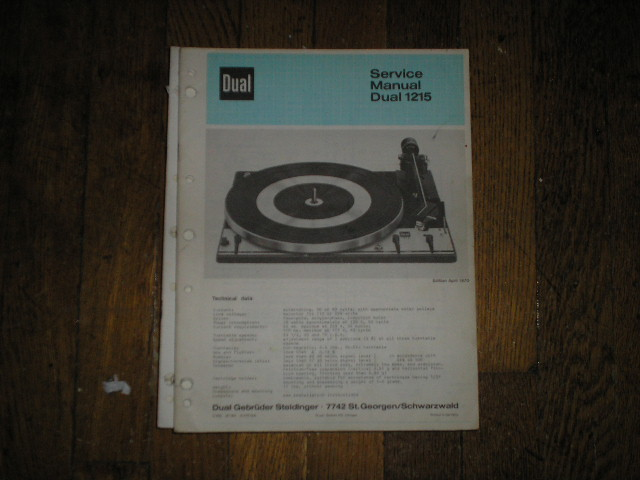 1215 Turntable Service Manual
