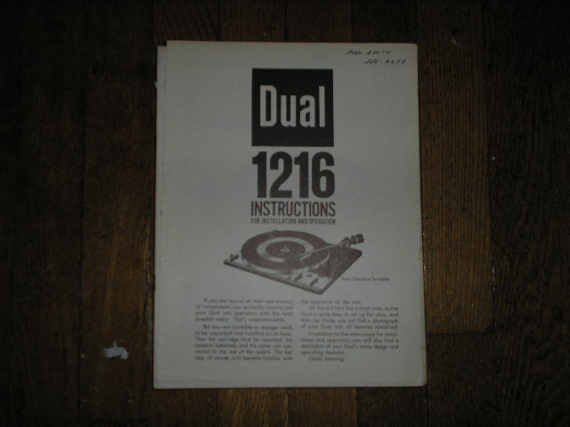 1216 Turntable Operator and Installation Manual