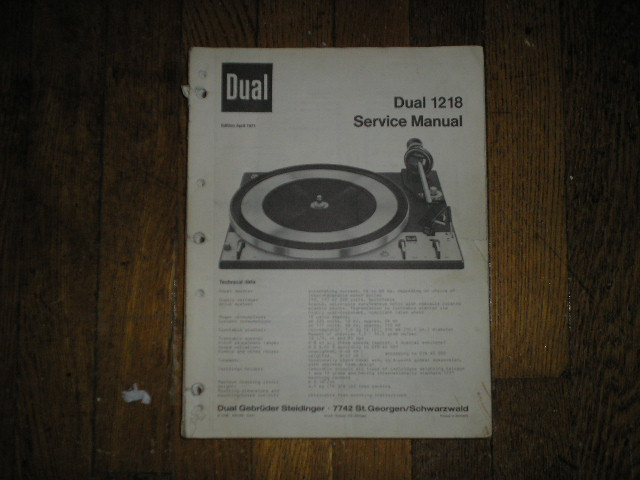 1218 Turntable Service Manual