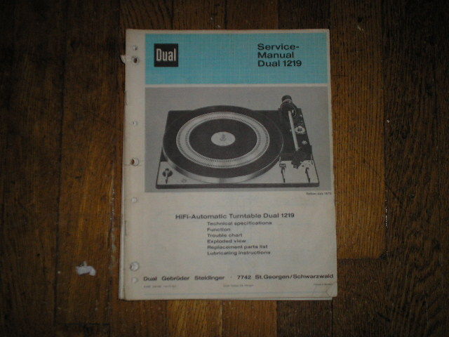 1219 Turntable Service Manual