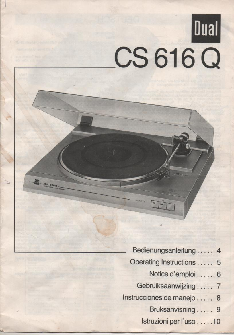 CS-616Q Turntable Owners Manual