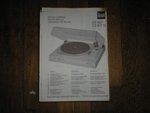 CS607 CS617Q CS 607 CS 617 Q Turntable Service Manual