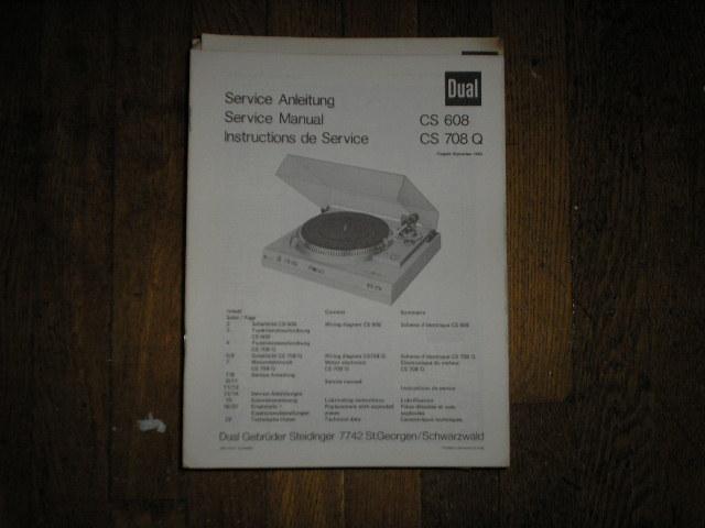 CS608 CS708Q CS 608 CS 708 Q Turntable Service Manual