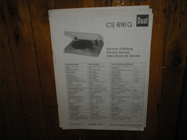 CS616Q CS 616 Q Turntable Service Manual