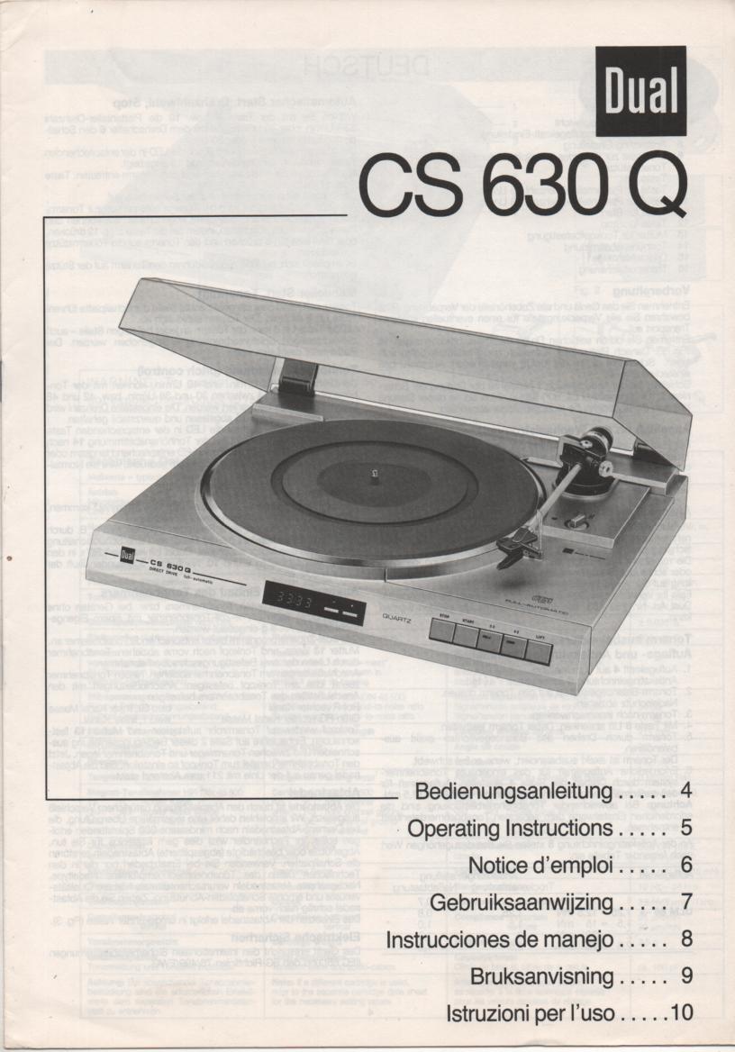 CS630Q Turntable Service Manual