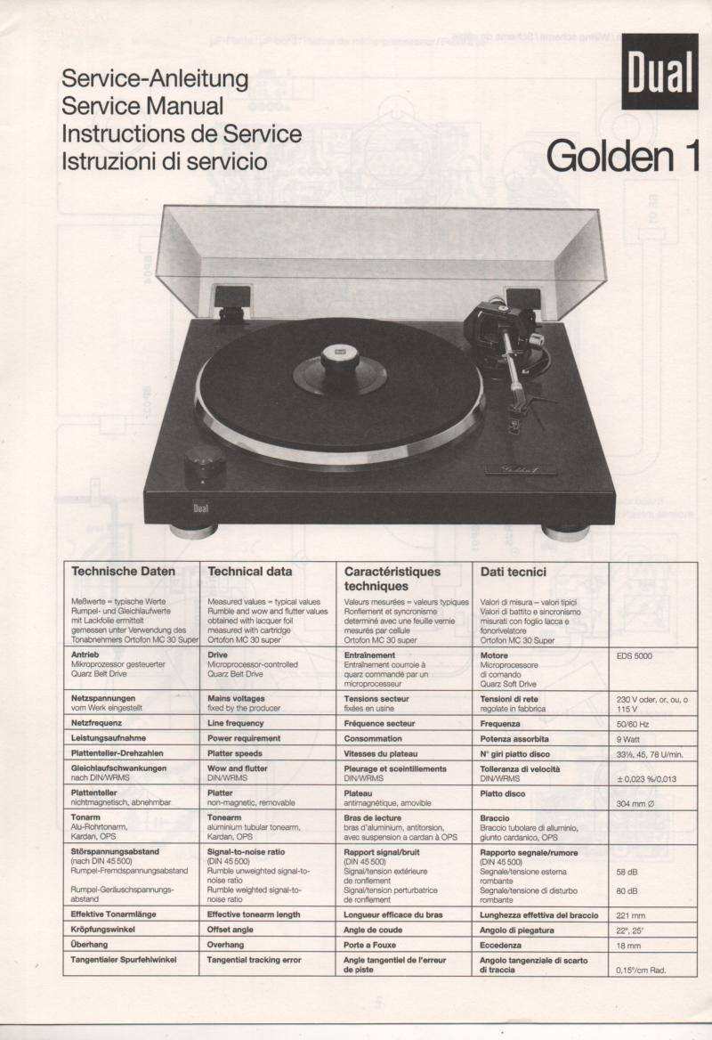 Golden 1 Turntable Service Manual