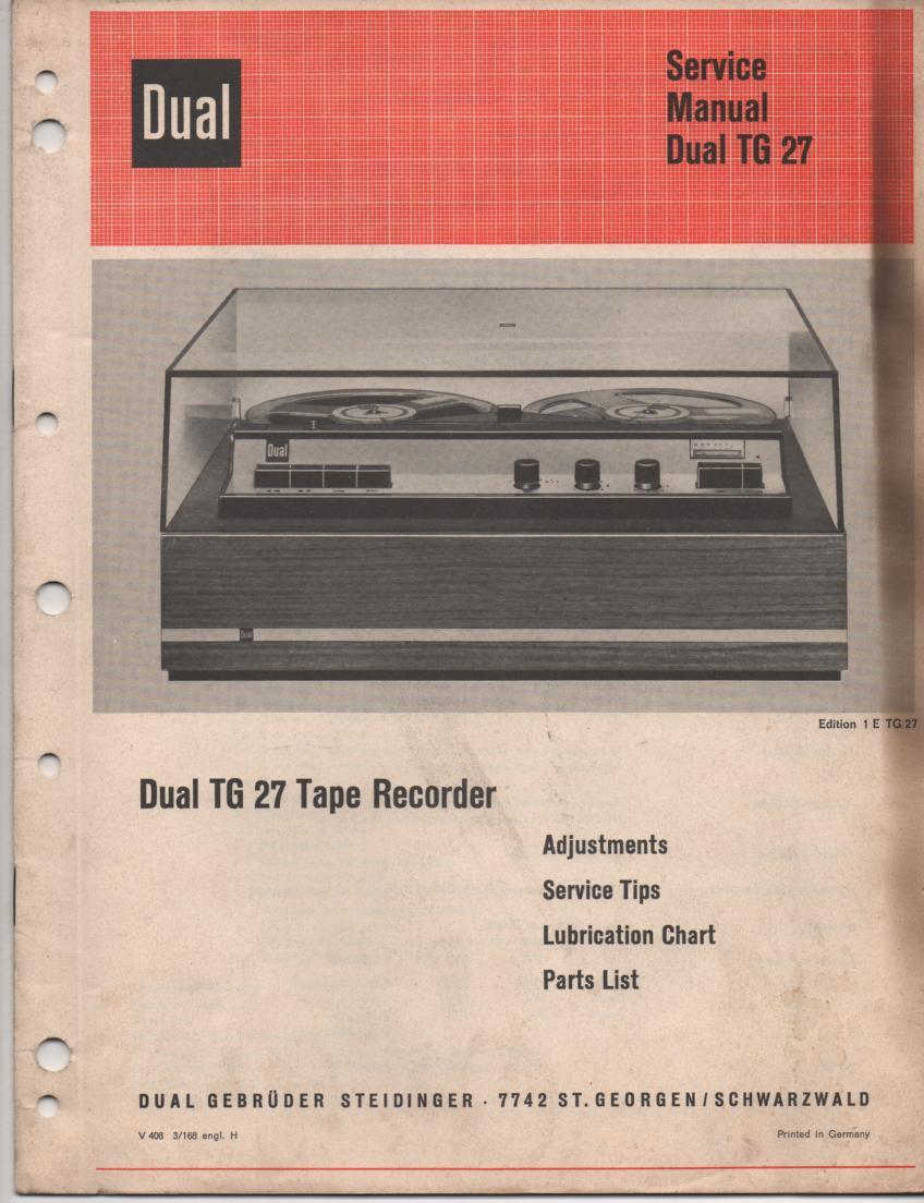 TG 27 Reel to Reel Service Manual.