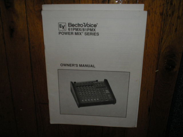 61PMX 81PMX Power Mixer Service Owners Manual
