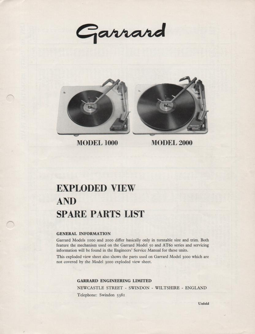 1000 2000 Turntable Exploded View and Parts List Manual..