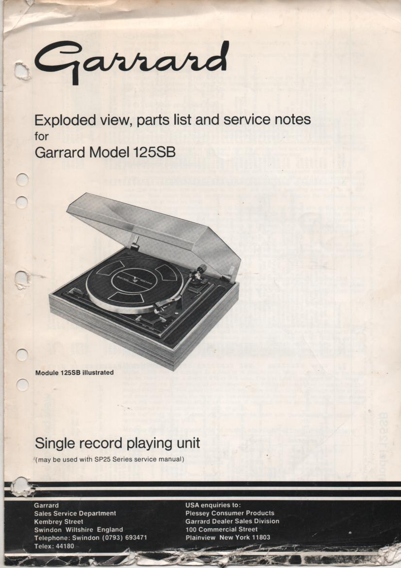 125SB Turntable Service Manual