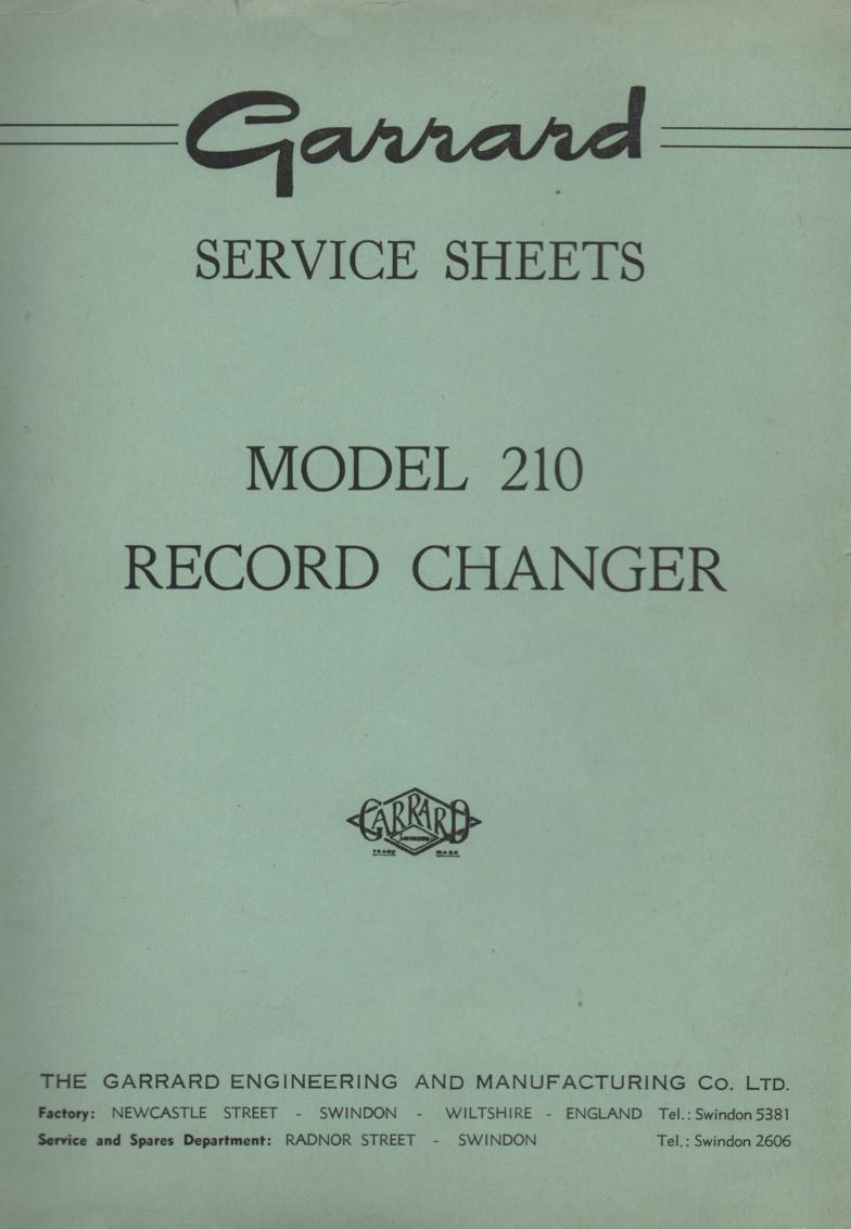 209 210 Record Changer Turntable Service Manual