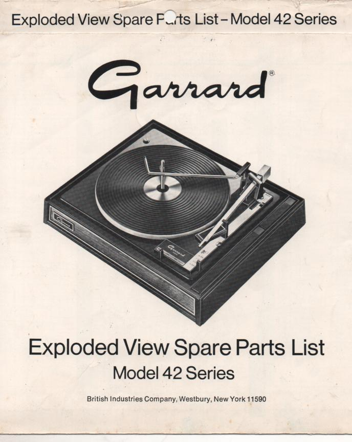 42 Series Turntable Exploded View and Parts Service Manual