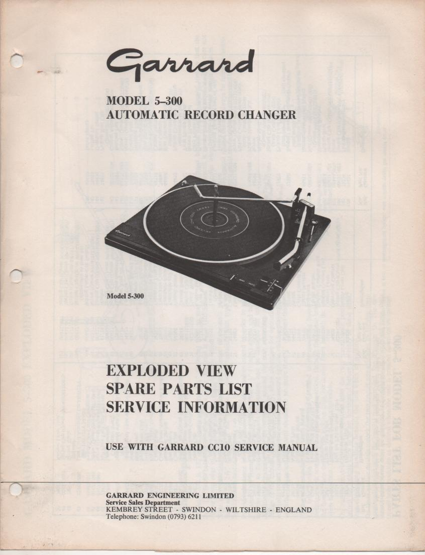 5-300 Turntable Service Manual