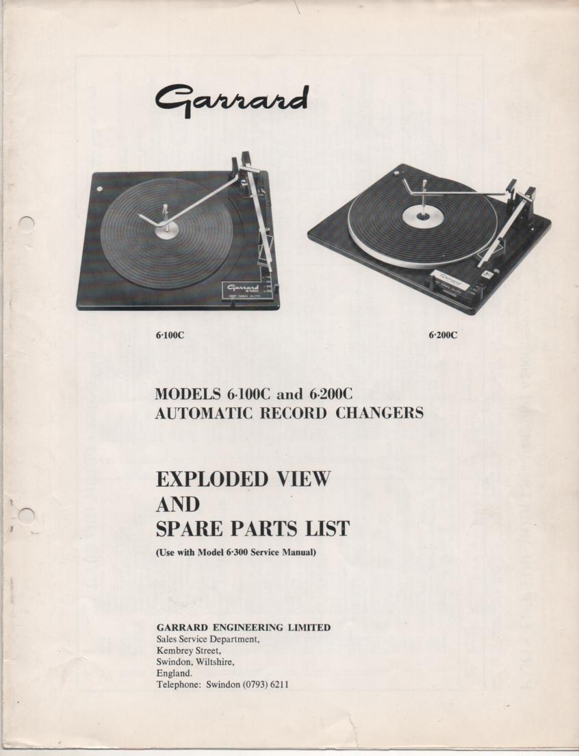 6-100C 6-200C Series Turntable Exploded View Parts Manual