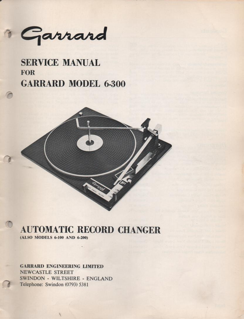 6-000 6-100 6-200 6-300 Series Turntable Service Manual
