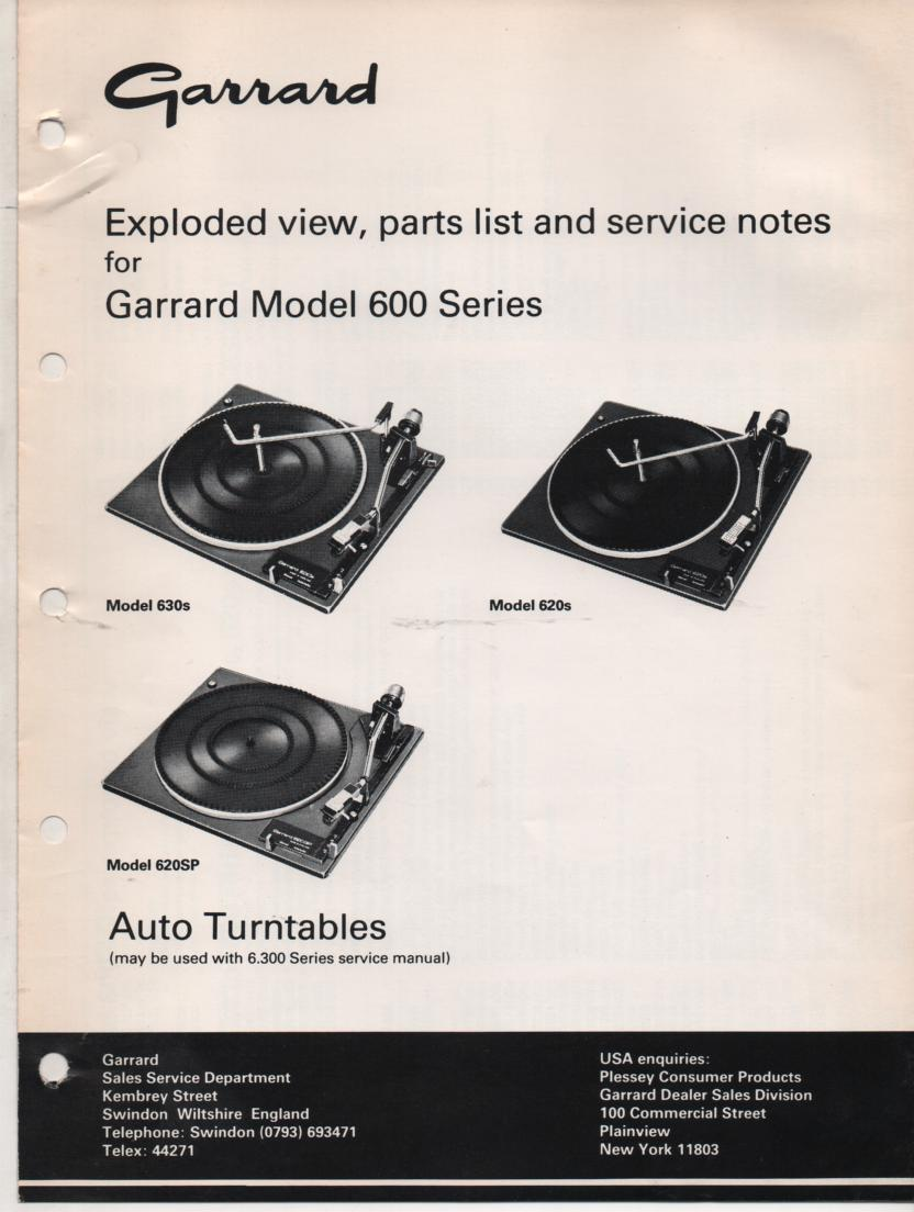 600 Series 620s 620SP 630s Turntable Exploded View and Parts List Service Manual