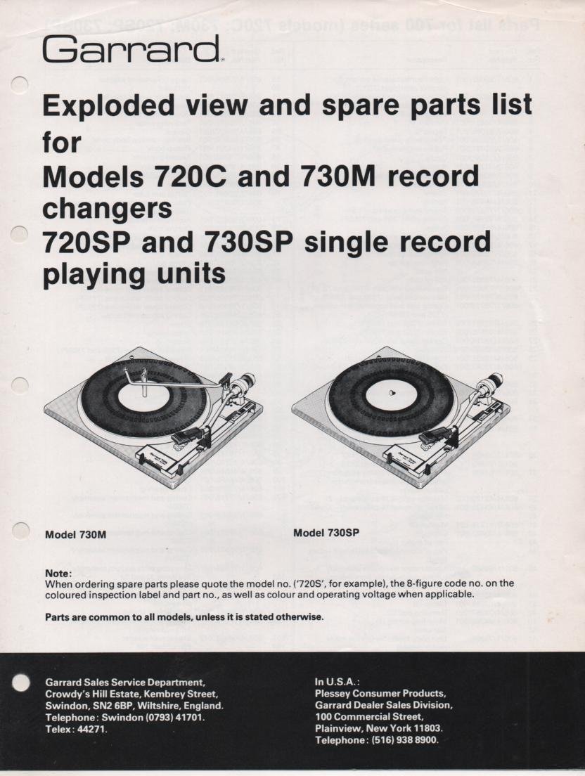 720C 720SP 730M 730SP Turntable Exploded View and Parts List Manual