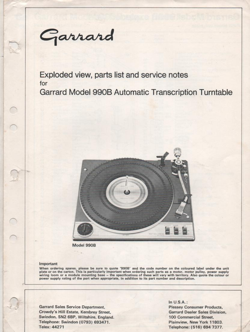 990B Turntable Exploded View and Parts List Service Manual.. Use with Zero 100 manual for complete manual