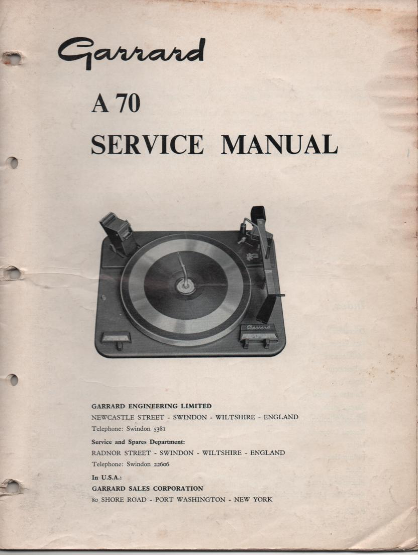 A70 Turntable Service Manual..