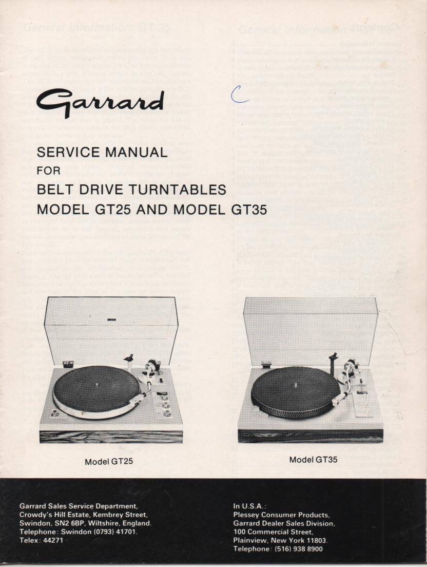 GT-25 GT-35 Turntable Service Manual