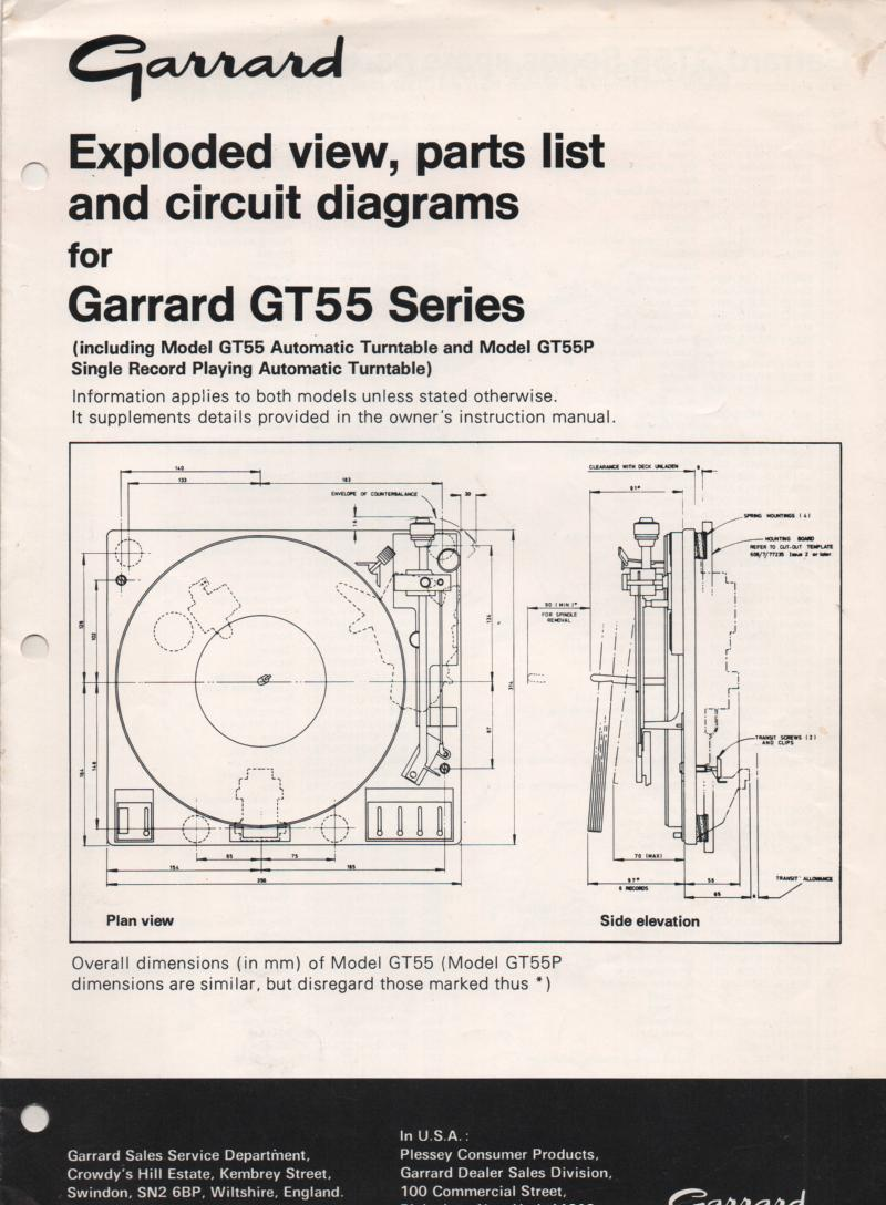 GT-55 GT-55P Turntable Exploded View and Parts Manual