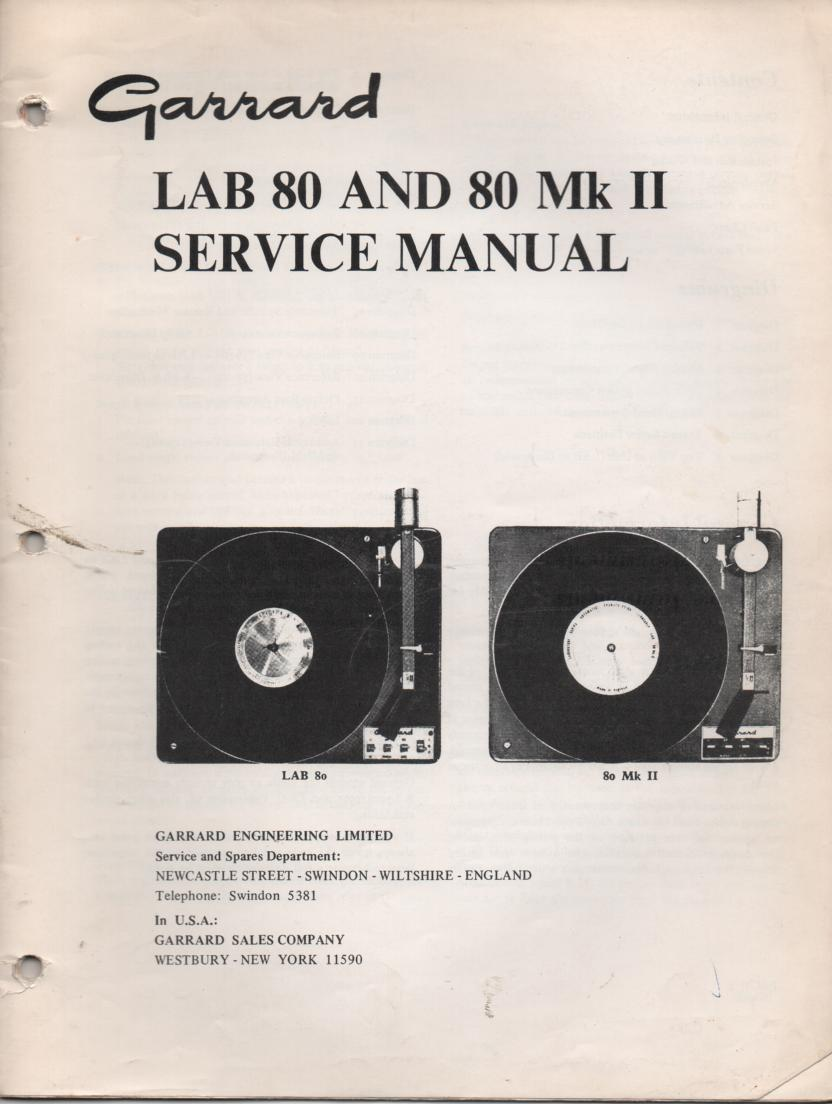 Lab 80 Lab 80 Mk II Turntable Setvice Manual