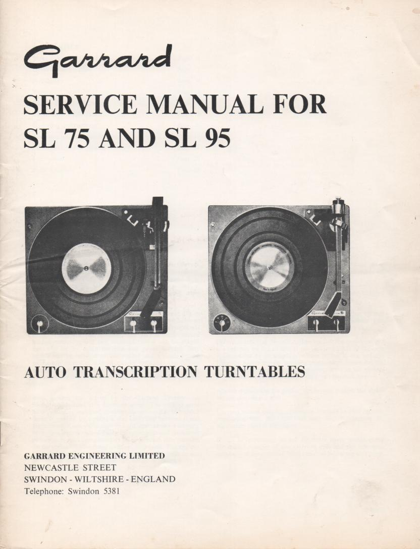 SL75 SL95 Turntable Service Manual