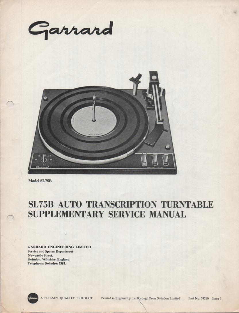 SL75B Turntable Supplementary Service Manual