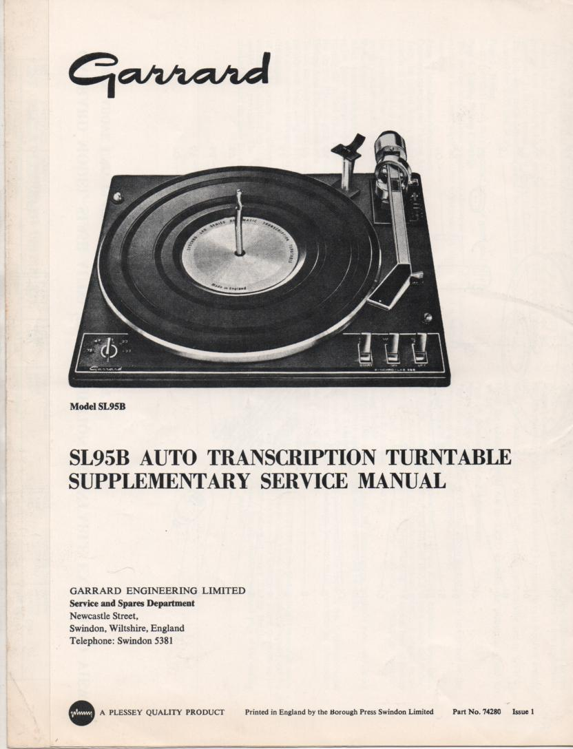 SL95B Turntable Supplementary Service Manual