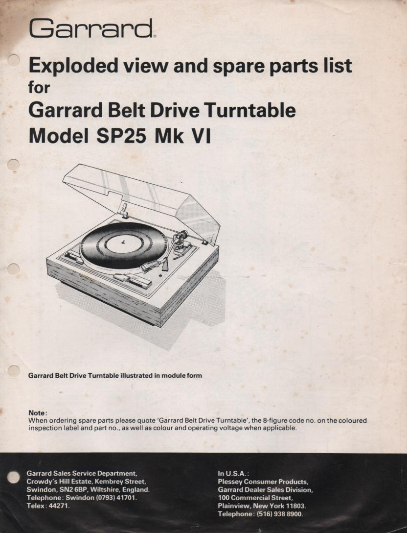 SP25 Mk VI 6 Turntable Service Manual