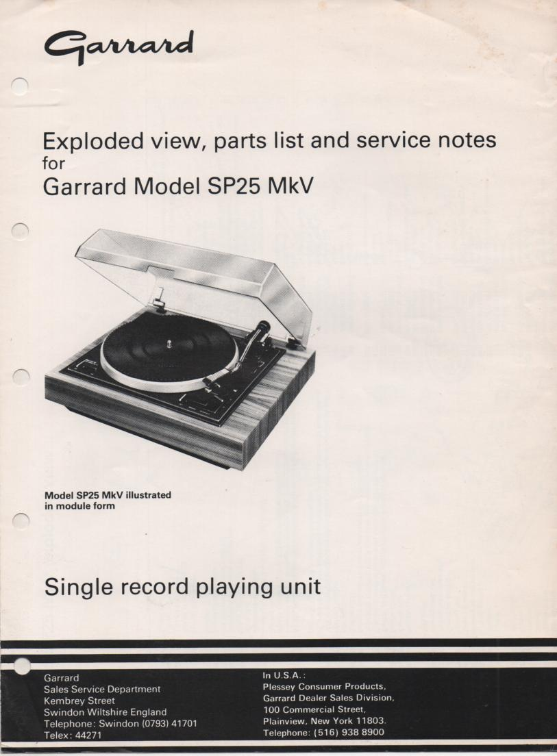 SP25 Mk V 5 Turntable Service Manual.. Use SP25 Mk3 Manual with this one