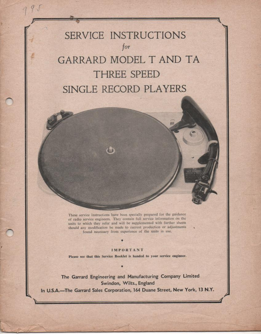 T TA TYPE Phonograph Turntable Service Manual